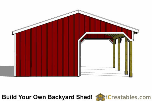 run in shed with tack room and breezeway end view