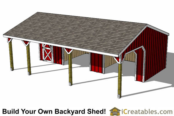 Run In Shed With Tack Room End And Breezeway
