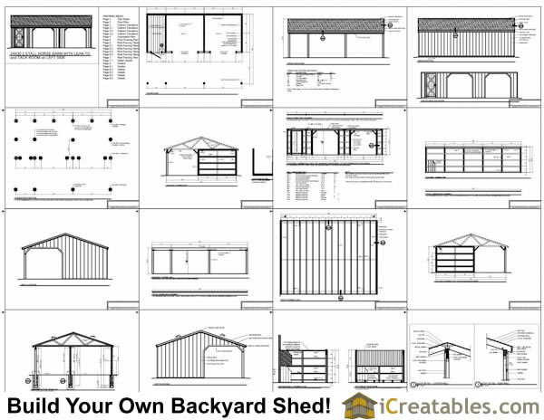 run in shed with tack room and breezeway plans example