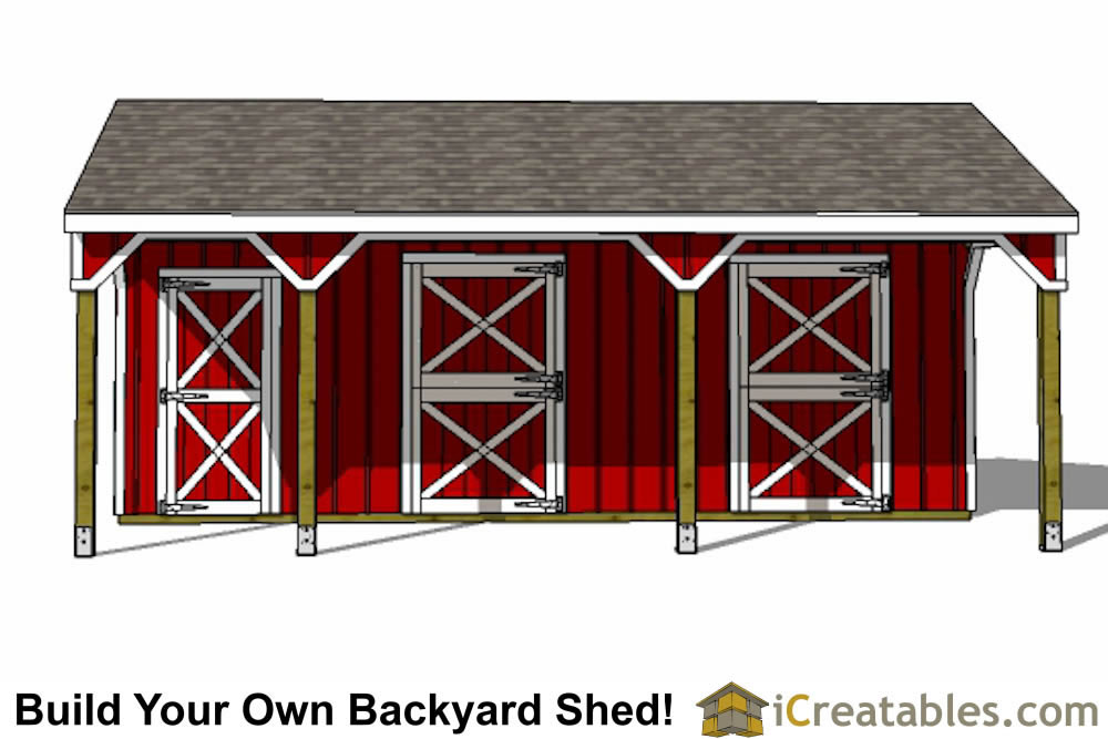 2 Stall Horse Barn Plans With 10x12 Stalls And Tack Room