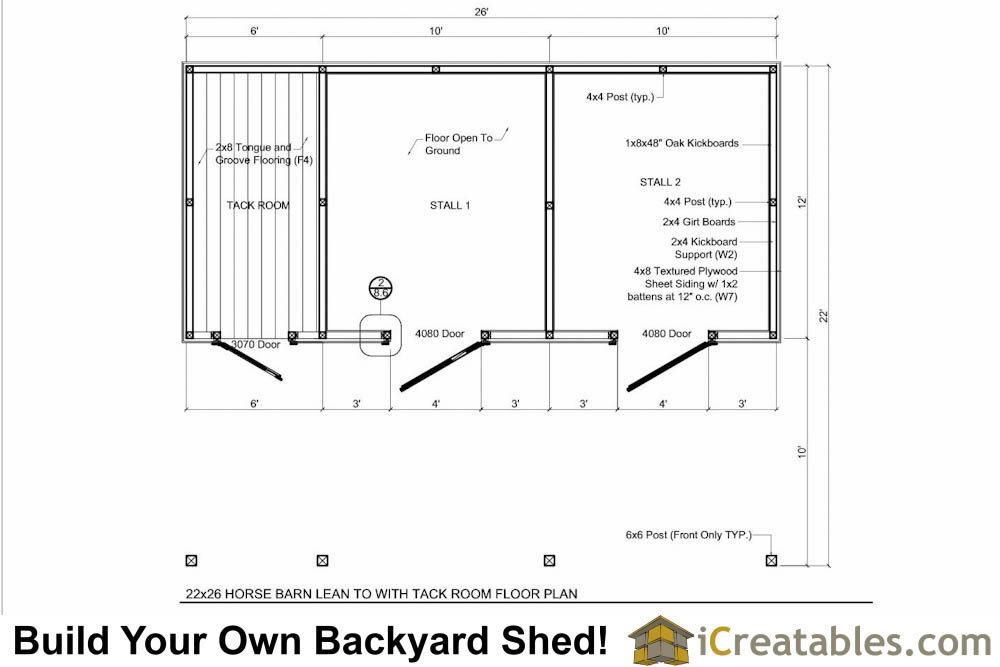 2 stall horse barn plans with 10x12 stalls and tack room for Horse barn materials