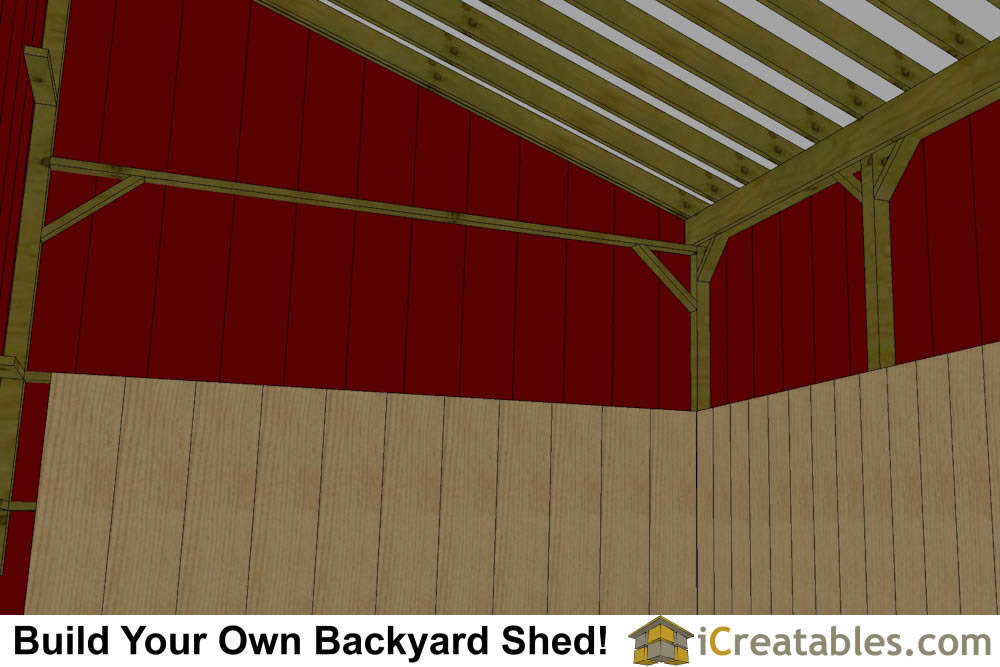 2 stall horse barn with tack room and lean to breezeway interior view