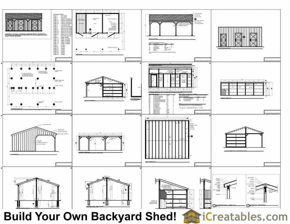 10x12 2 stall horse barn with tack room plans