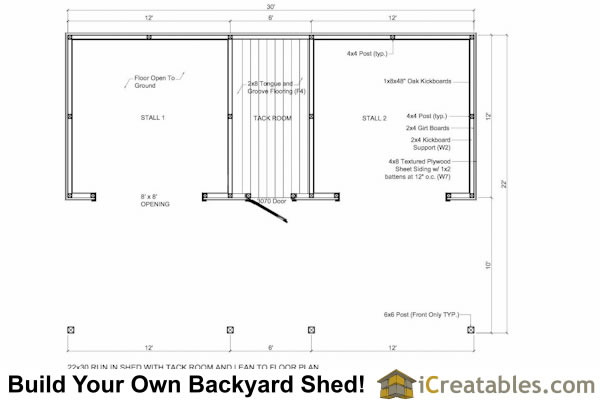 Run in shed with tack room and breezeway for 2 stall horse barn plans