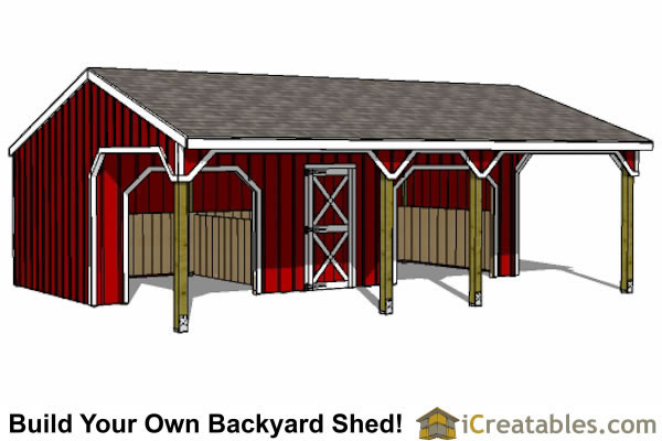 2 stall run in shed with tack room
