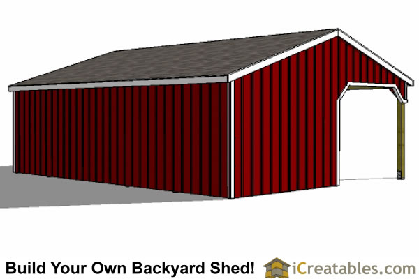 12x30 2 stall run in shed with tack room rear view