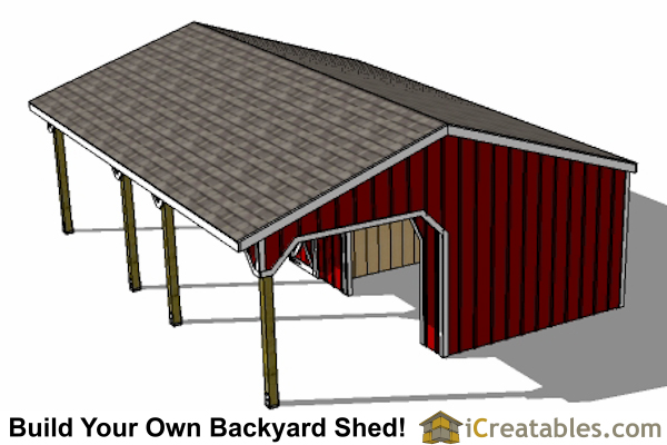 12x30 2 stall run in shed with tack room front
