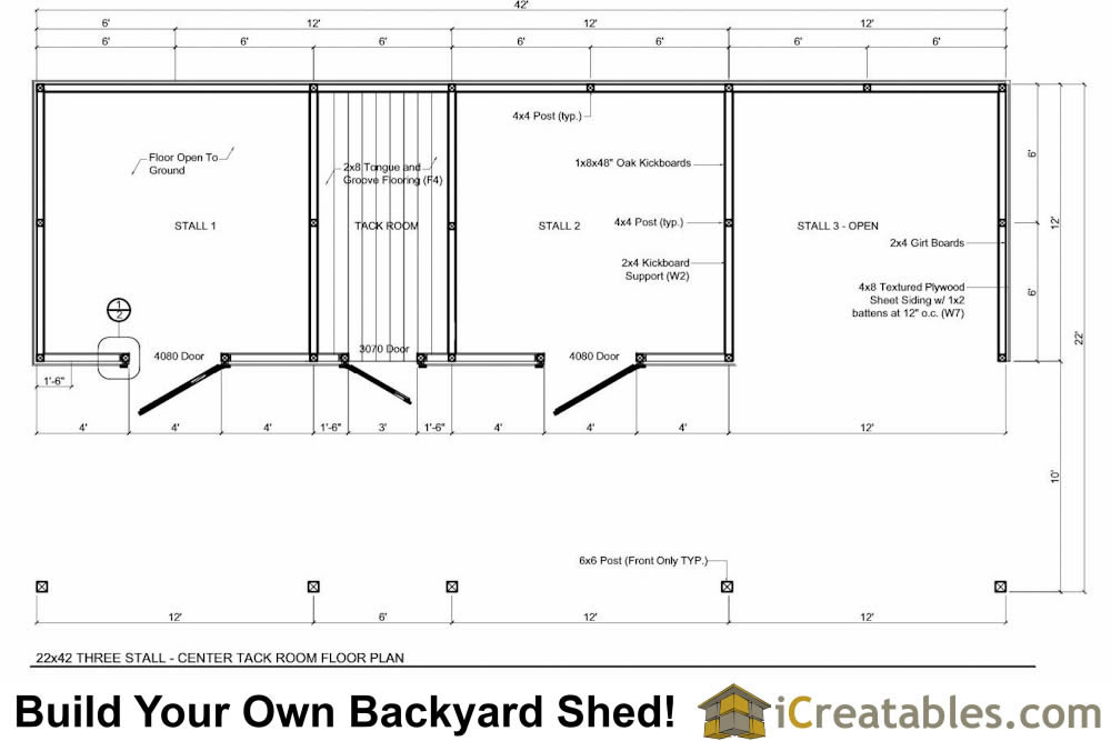 3 stall horse barn plans with lean to and center tack room for Horse barn floor plans