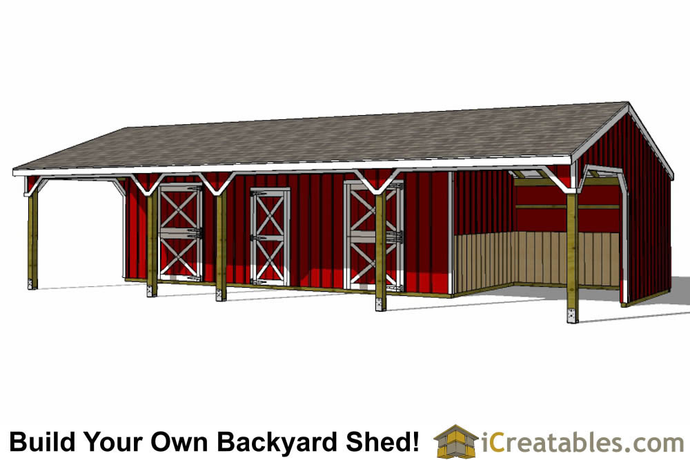 22x42 3 stall horse barn and tack room