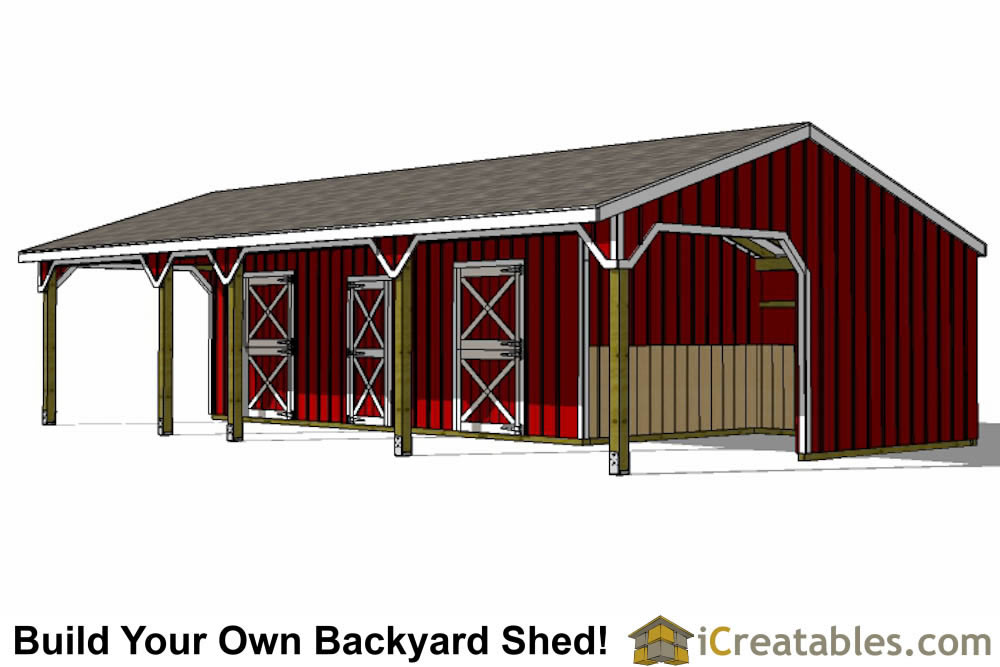 3 stall horse barn plans with lean to and center tack room for Two stall barn plans