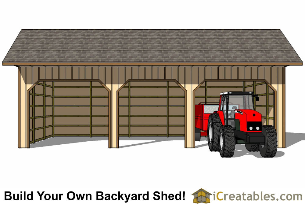 24x40 Run In Shed Plans With Cantilever Roof – 24X40 Garage Plans