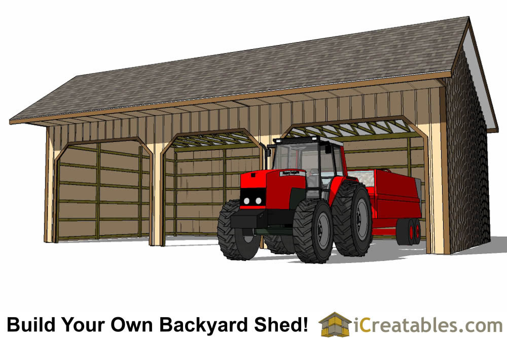 24x40 run in shed plans with cantilever roof Horse run in shed plans design