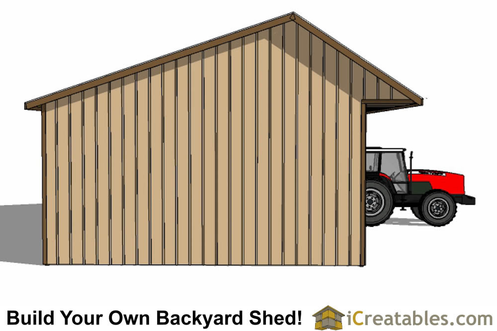 24x40 Run In Shed Front Elevation