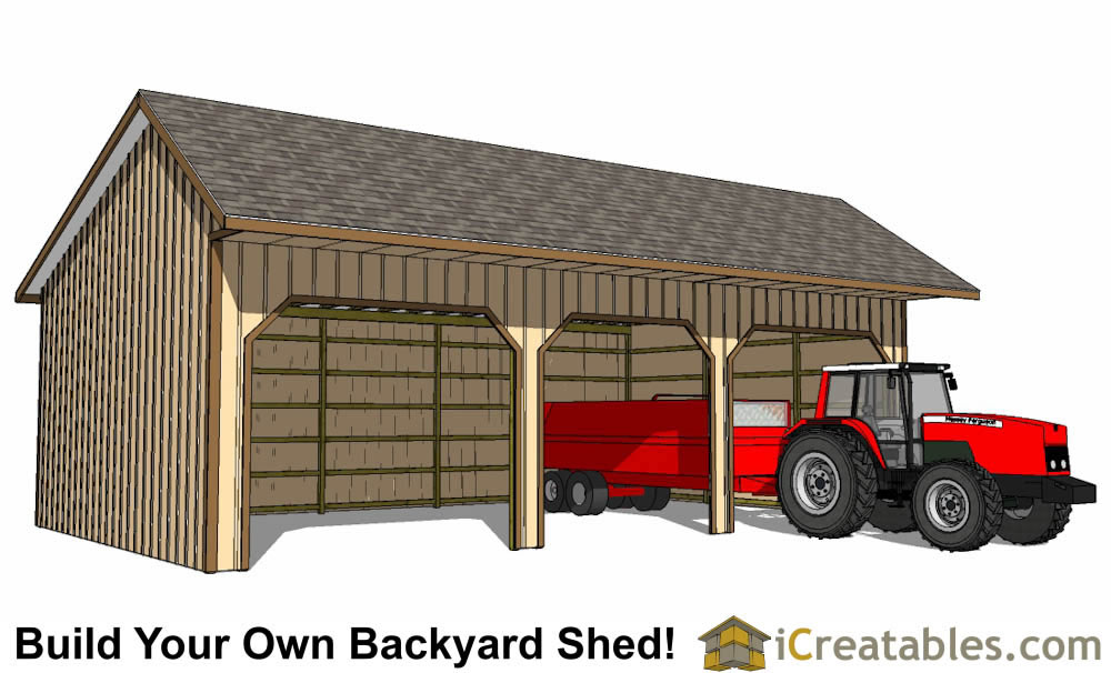 24x40 run in shed plans horse barn