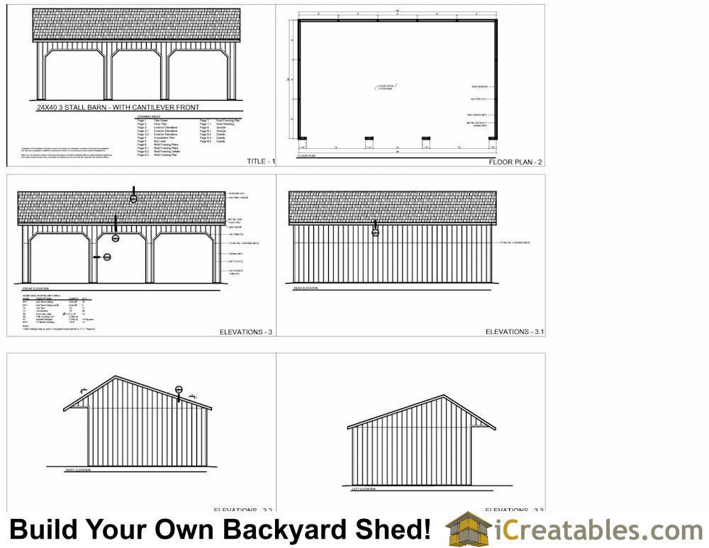 24x40 Run In Shed Plans With Cantilever Roof