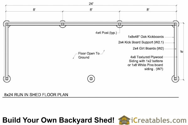 8x24 run in shed plans floor plan