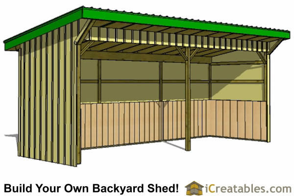 Run in shed plans building your own horse barn icreatables for Three sided shed plans