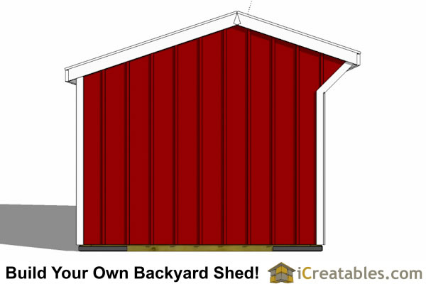 8x8 run in shed horse barn end elevation