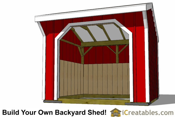 8x8 run in shed horse barn plans front elevation