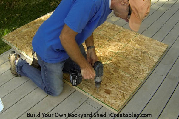 How to build a shed door attach the back panel to the door rails