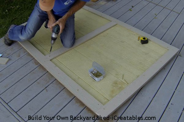 building a shed door adding trim to door