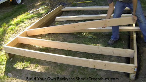 How to build a shed floor installing floor joists