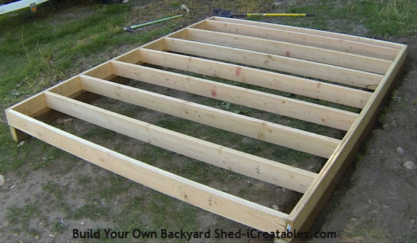 Mark cus how to build a shed foundation and floor for Floor joist construction
