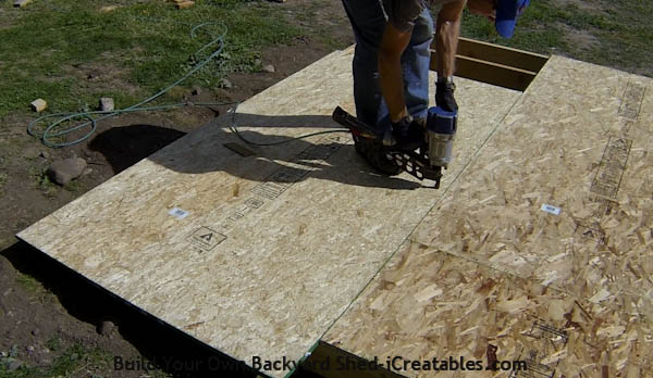 Building a shed floor nailing on floor sheeting