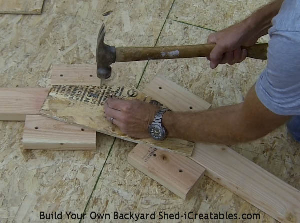 How to build shed roof rafters nailing on the truss gusset
