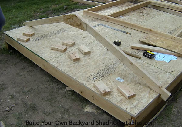 ... by standing it up and lining it up with the edges of the shed floor