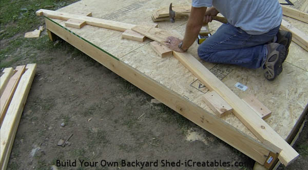 How to build shed roof rafters nailing on gussets