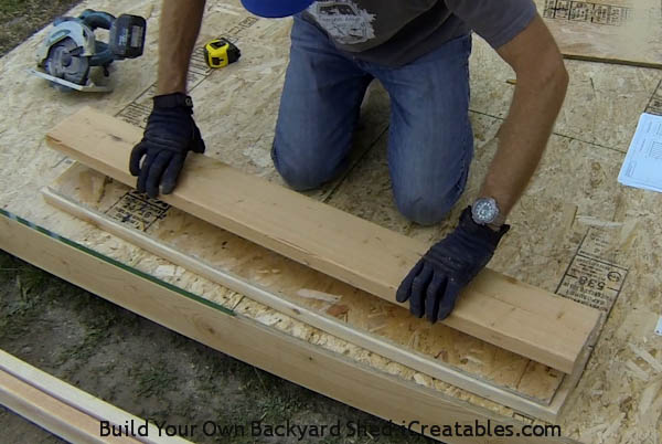 How to build shed walls nailing together door header