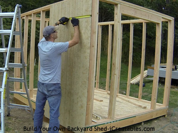 How to install siding on a shed marking wall stud locations behind shed siding