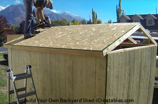 Shed plans how to build a shed icreatables for How to build a sloped roof shed