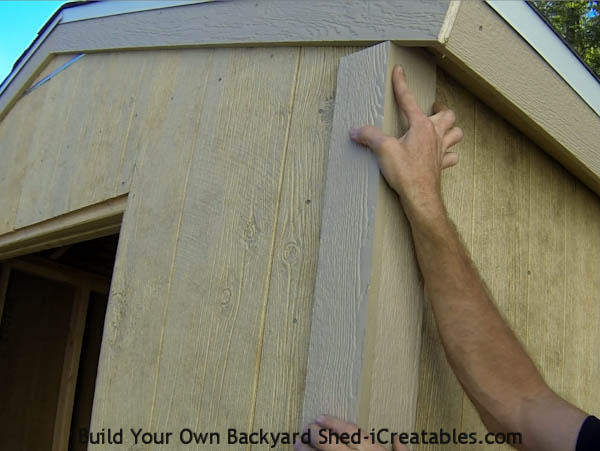 How to install exterior trim lining up the shed corners