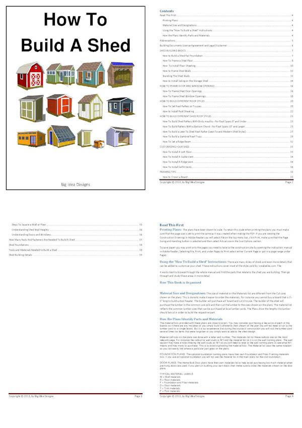 How To Build a Shed Book pages 1-4