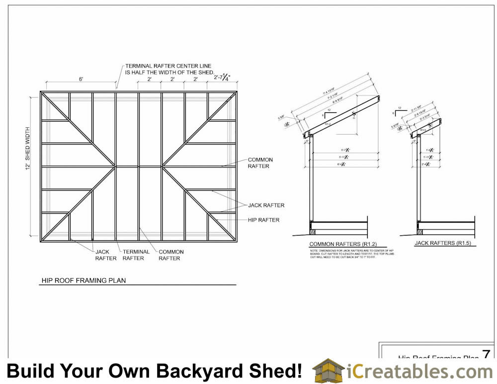 Hip roof shed plans shed designs with hip roofs for Hip roof design plans