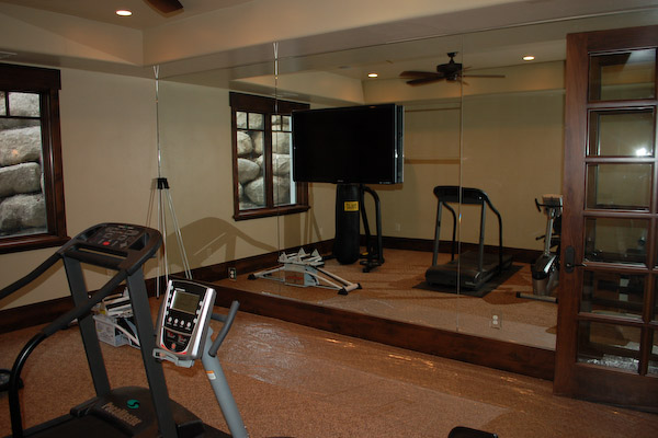 exercise room wood trim mirrors