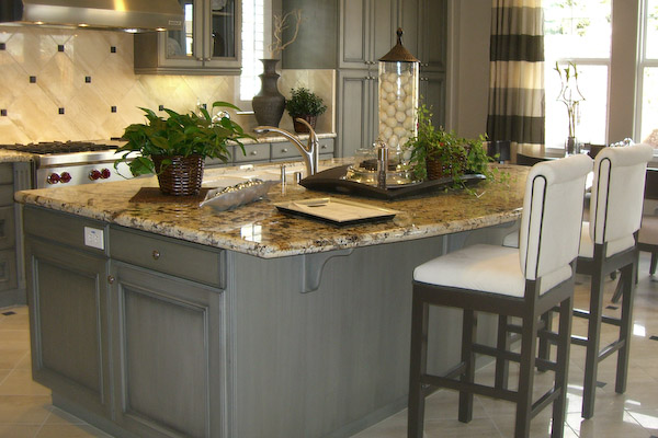 Grey Kitchen Cabinets With Blue Island Quicua