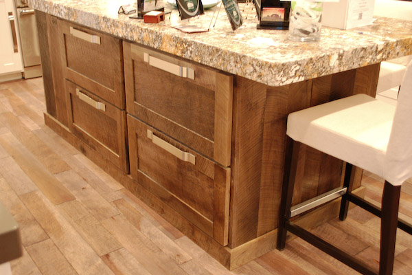 rough sawn wood on kitchen island and floor