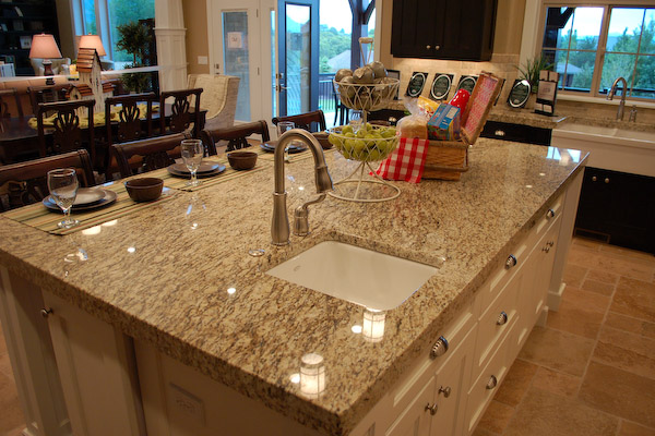 white granite on kitchen island picture