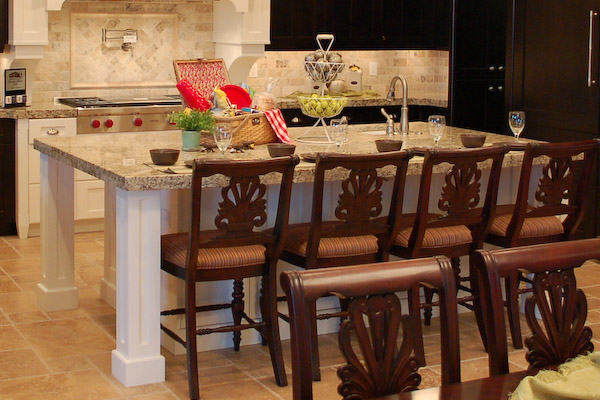 breakfast nook on kitchen island
