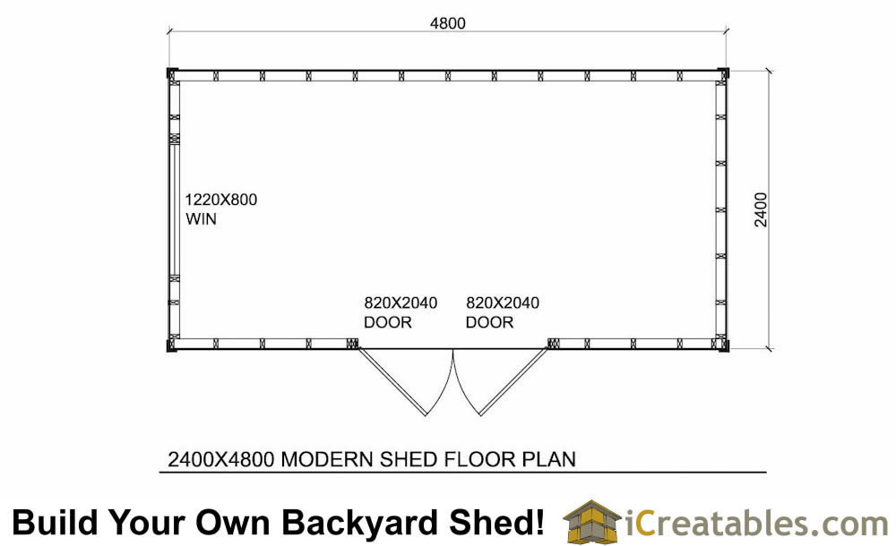 2400x4800 mm office shed plans floor plan