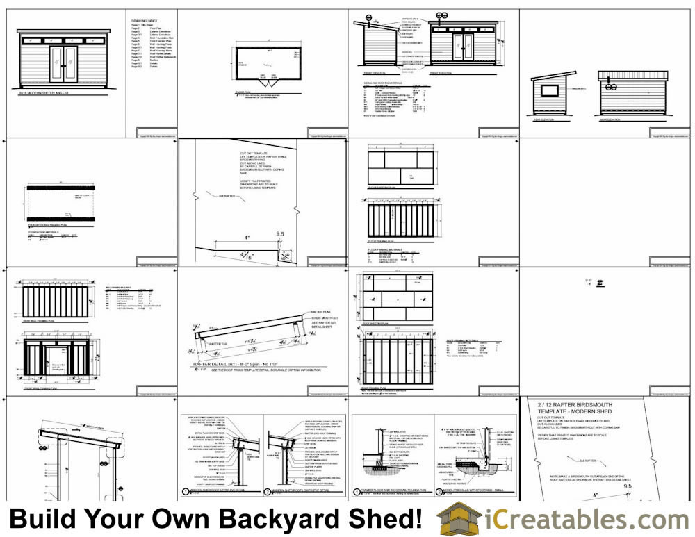 2400x4800 mm modern shed plans