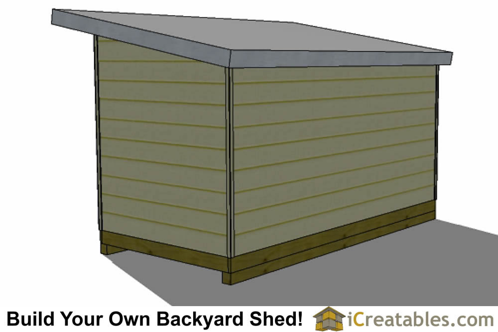 2400x4800 mm modern shed plan with flat roof end elevation