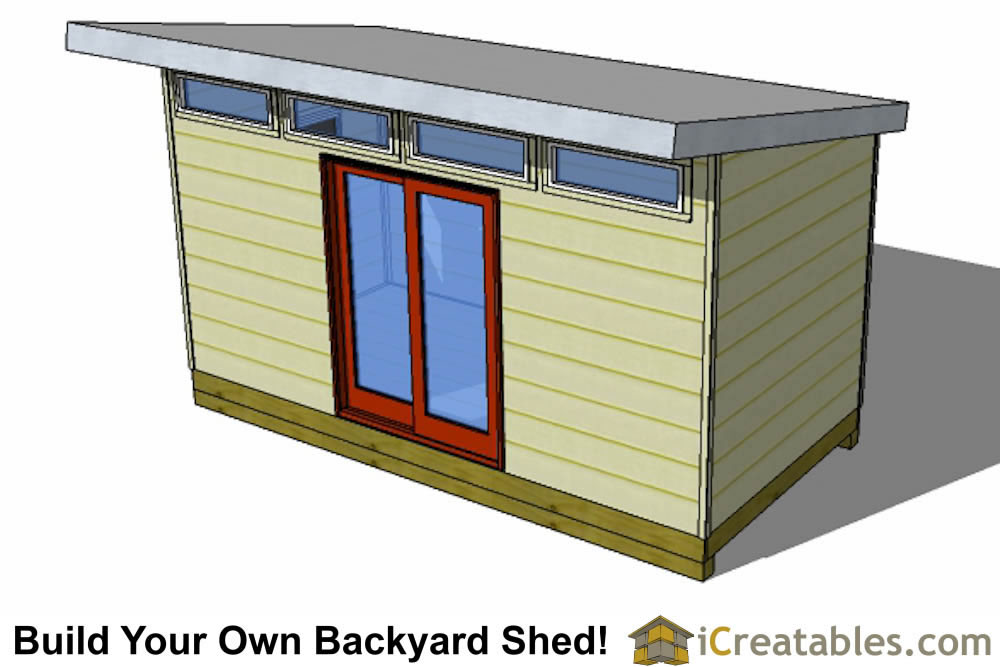 2400x4800 mm modern shed plan with flat roof rear view
