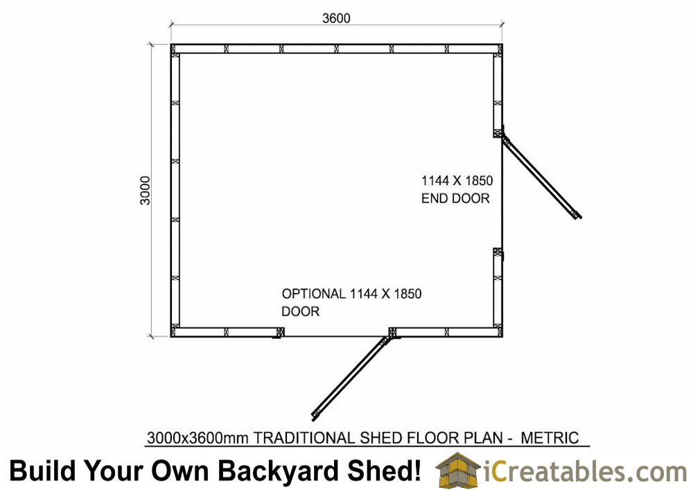 3000x3600 metric shed-plans-2.4x3 meter shed floor plans