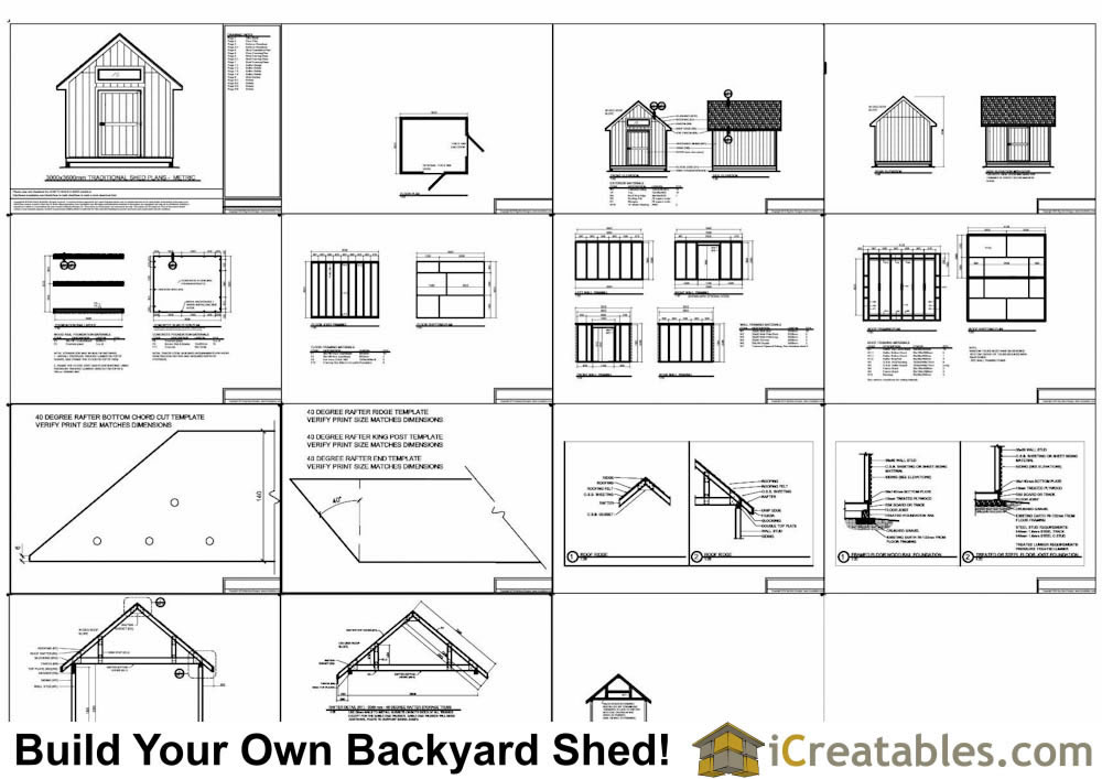3000 x 3600 Metric shed plans example