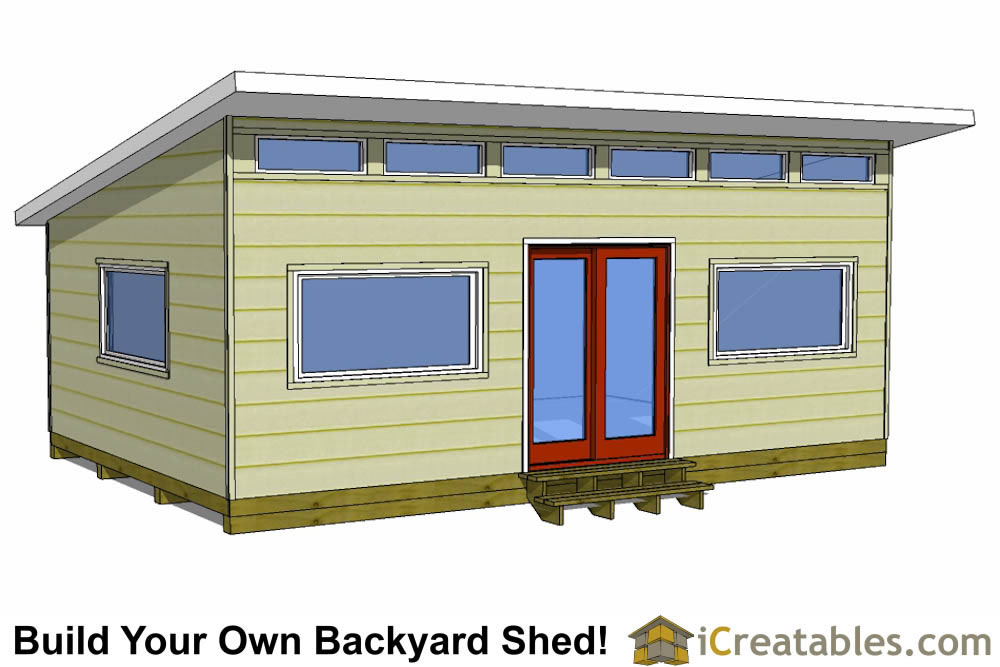 12x16 modern shed plans with flat roof
