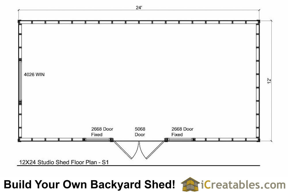 12x24 Modern Shed Plans Office Shed Plans